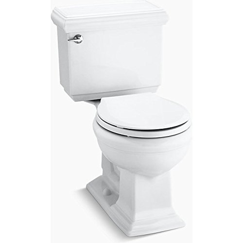 KOHLER 3986-U-0 Memoirs Classic Comfort Height Two-Piece Round-Front 1.28 Gpf Toilet with Aquapiston Flush Technology