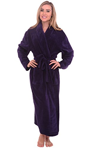 Alexander Del Rossa Womens Fleece Robe, Long Bathrobe, Small Medium Purple (A0117PURMD)