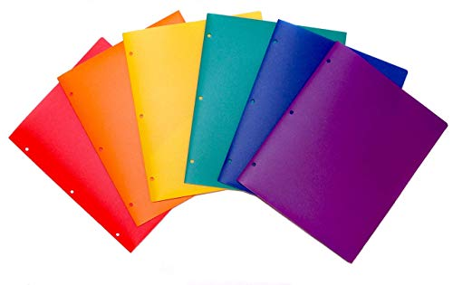 Plastic Folders with Pockets - Heavy-Duty 2 Pocket Folders, 6 Pack (Red, Orange, Yellow, Green, Blue, Purple) Colored Folders, for School and Homework, Hole Punched for Binder, Poly Two Pocket -
