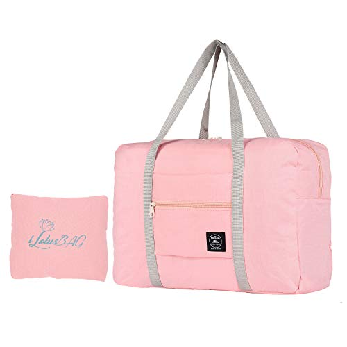 iLotusBAG Travel Foldable Duffel Bag for Women & Men,Lightweight Waterproof Carry-on Bag,Travel Luggage for Sports Gym,Travel Tote Luggage Bag(Pink)