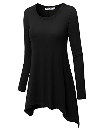LL WT953 Womens Round Neck Long Sleeve Rib Trapeze Tunic Top M (Medium Long Sleeve Top)