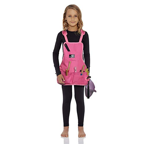 LIFE TRACE Kids Apron, with 10 Pockets, for Gardening Care,Painting, Pretend Play, Cooking, Thick-Padded Shoulder Straps, Adjustable Cross, Waterproof,Pink Color, XXS-S ()