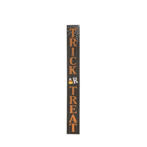 Glitzhome Halloween Door Decorations Trick or Treat Outdoor Halloween Decoration for Front Door Display Porch Sign Wood Hanging Sign for Halloween Party, 7.2×59.68 -