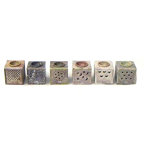 Soapstone Aroma Lamp Candle Holder Oil Diffuser Centerpiece Set of 6 Square Shaped with Intricate Different engraving designs Beautiful Home Decor Idea Decorative Home Decor Oil Burner Tabletop ()