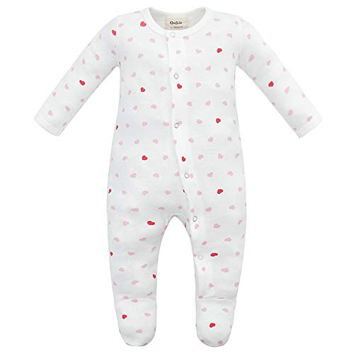 - Owlivia Unisex-Baby Organic Button Cotton Sleep N Play Pajamas, Long Sleeve Footed Overall, Boys Girls' Sleeper (Newborn, Pink Heart)