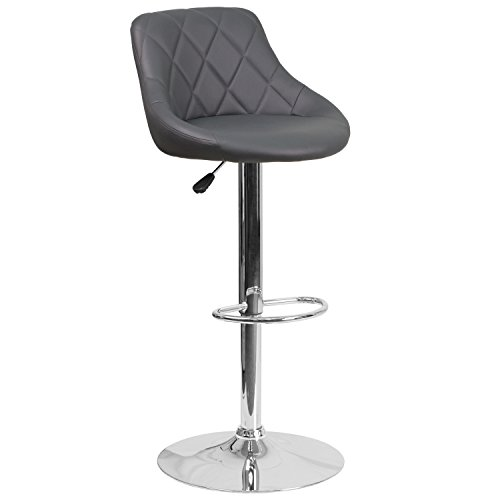 - Flash Furniture Contemporary Gray Vinyl Bucket Seat Adjustable Height Barstool with Chrome Base