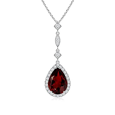 Angara Pear Garnet Teardrop Necklace with Diamond in Platinum Js7vPg8Jhz