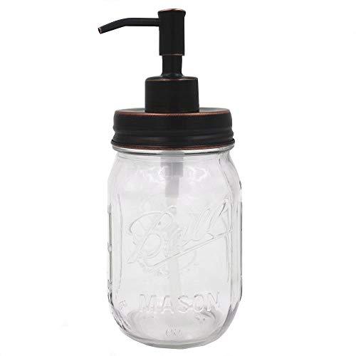 Mason Jar Soap Dispenser, Oil Rubbed Bronze Rust Proof Stainless Steel Lotion Dispenser With 16 Ounce Regular Mouth Mason Jar, Bathroom ()