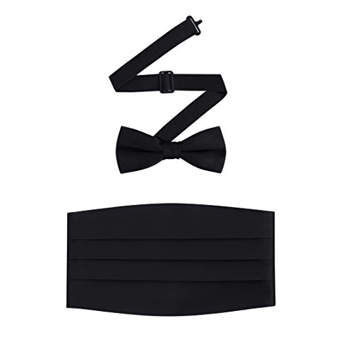 Men's Formal Satin Bowtie and Cummerbund Set - Black, By S.H Churchill (Cummerbund Sets)