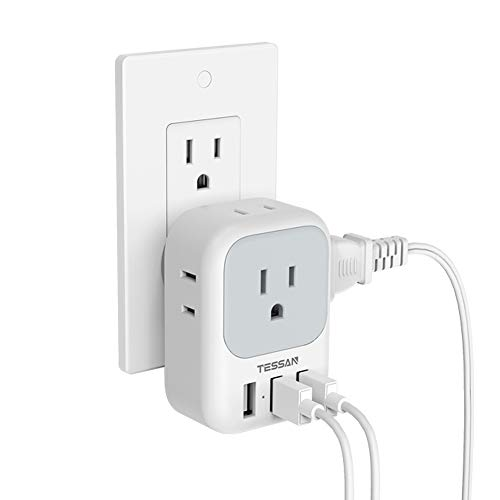 Multi Plug Outlet Extender with USB, TESSAN Electrical 4 Outlet Box Splitter with 3 USB Wall Charger, Multiple Power Expander for Cruise Essentials, Home, Office