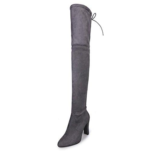 YJYdada Fashion Women's High Heels Over The Knee Thigh Boots Stretch Chunky Heels (grey, 36)