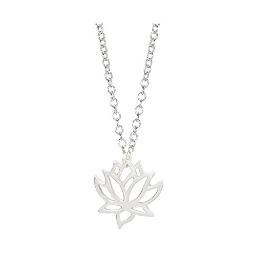 Lotus Pendant Necklace Hollow Flower -CHUYUN Woemen Gold SilverJewelry for Brial Gift (silver) Lotus Flower Dress