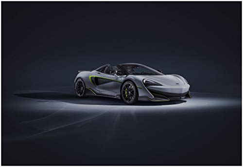 "McLaren 600LT Spider by MSO (2019) Car Art Poster Print on 10 Mil Archival Satin Paper Light Gray Front Side Static View (11""x17"")"
