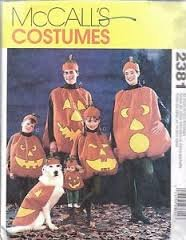 McCalls Costume Pattern 2381 Pumkin costume for whole family w/dog and w/doll