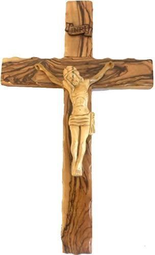 Holy Land Market Large Olive Wood Cross with Crucifix – All from Olive Wood from Bethlehem 14 inches or 35 cm