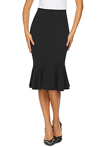 - Women's High Wasit Slim Fit Knee Length Pencil Skirt for Office Wear (S, Black)