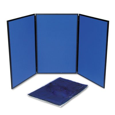 ShowIt Three-Panel Display System, Fabric, Blue/Gray, Black PVC Frame, Total 1 EA, Sold as 1 Carton (Three Panel Display System)