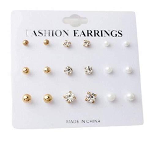 (PG-kisseller 9-Piece Earrings Set Simple Diamond Round Earrings Ear Jewelry)