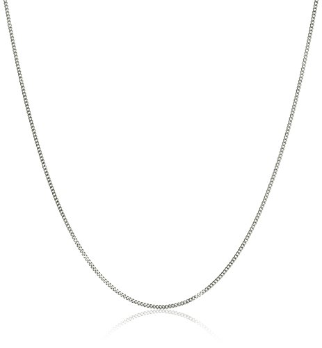14k White Gold Baby Curb Chain Necklace, 20