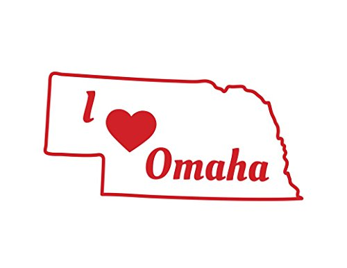 ND345R I Love Omaha Decal Sticker | 5.5-Inches By 2.7-Inches | Premium Quality Red Vinyl