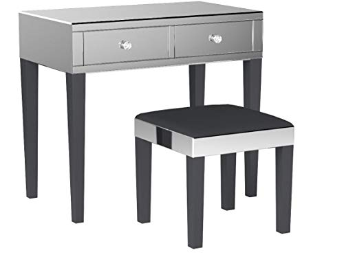 Inspired Home Juliet Modern Contemporary Mirrored 2-Drawer Vanity Table with Stool Set, Black