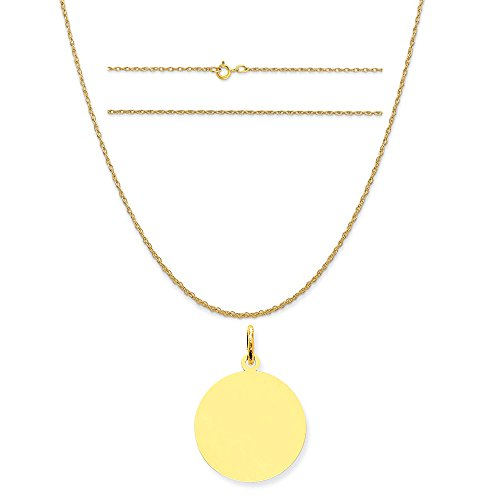 14k Yellow Gold Round Disc Charm on a 14K Yellow Gold Carded Rope Chain Necklace, - 13 Yellow Round C