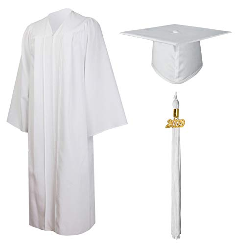 GraduationMall Matte Graduation Gown Cap Tassel Set 2019 for High School and Bachelor White -