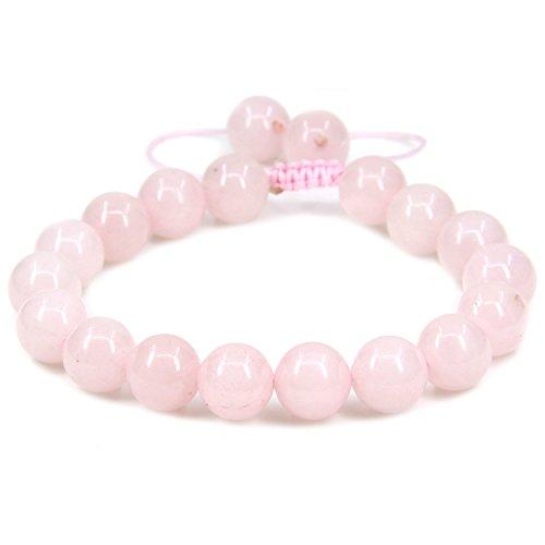 Natural Rose Quartz Gemstone 10mm Round Beads Adjustable Braided Macrame Tassels Chakra Reiki Bracelets 7-9 inch Unisex