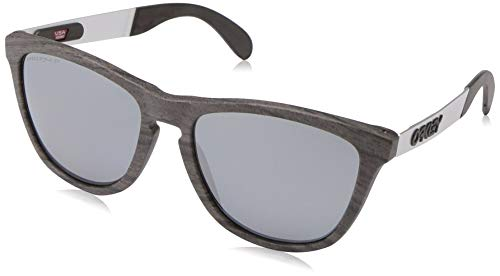 Oakley Men's OO9428 Frogskins Mix Round Sunglasses, Woodgrain/Prizm Black Polarized, 55 mm (Sunglasses For Wood Time)