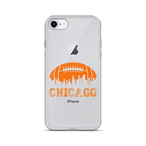 iPhone 7/8 Pure Clear Case Transparent Cases Cover Vintage Chicago Illinois Cityscape Retro Football Architecture Crystal Clear