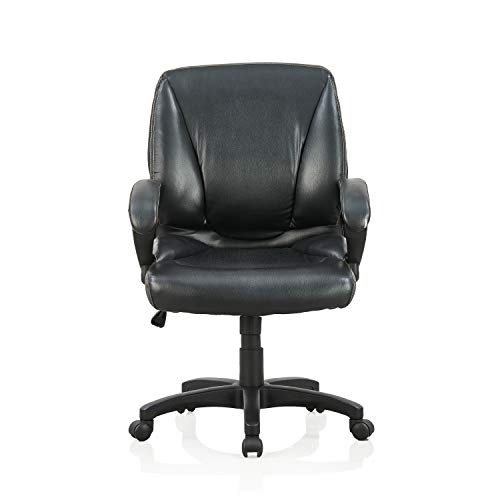 Featherlite Leatherette Leatherette Office Chair with Arm  Black