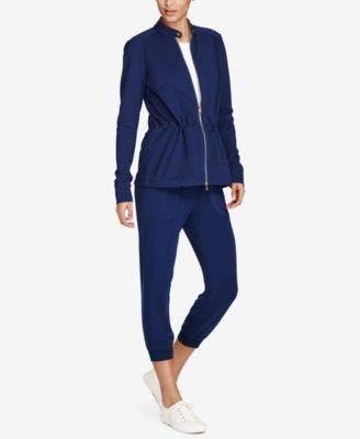 Ralph Lauren Womens Cinched Waist Jacket, Blue, X-Large