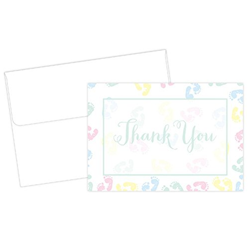 Baby Feet Thank You Cards With White Envelopes