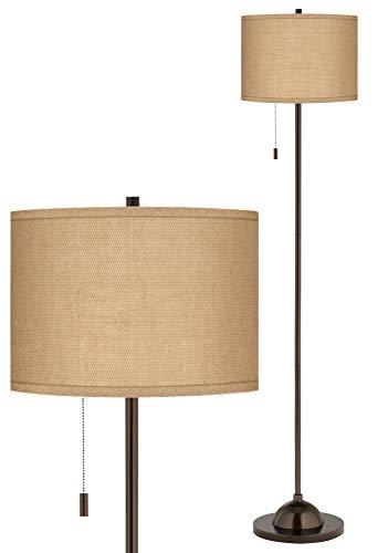 Woven Burlap Bronze Club Floor Lamp - Possini Euro Design ()