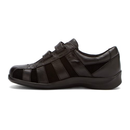 Fashion Leather Women's Strap Aetrex 2 Sneaker Striped Suede E830 Black FXZZnvx8