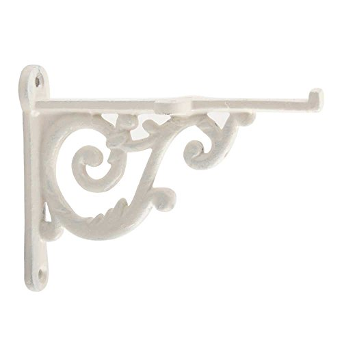 IndianShelf Set of 2 Handmade Cream Wall Shelf Brackets Iron Wall Mounted Corner Hardware Decorative Hanging Plants Hooks Hangers Lantern - Cream Wall Iron