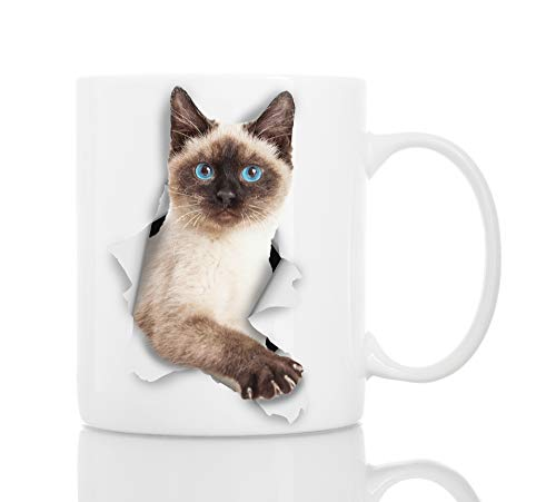 (Funny Siamese Cat Coffee Mug - Ceramic Funny Coffee Mug - Perfect Cat Lover Gift - Cute Novelty Coffee Mug Present - Great Birthday or Christmas Surprise for Friend or Coworker, Men and Women (11oz))