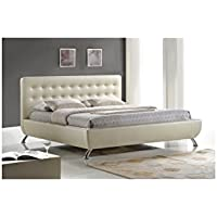 Baxton Studio Elizabeth Pearlized Modern Bed with Upholstered Headboard, Queen, Almond