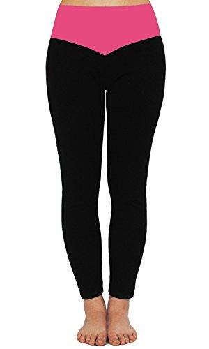 iLoveSIA(TM) Women's Ladies YOGA Running Pants Active Tights Leggings Black+Rose M