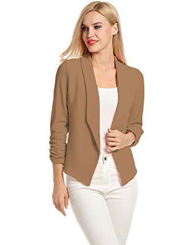 Blaser sacos de Mujer Blazer 3/4 Sleeve Camel Colored Blazer for Women (Khaki, M)
