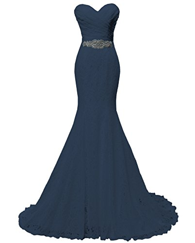 SOLOVEDRESS Women's Lace Wedding Dress Mermaid Evening Dress Bridal Gown With Sash (US 16,Navy)