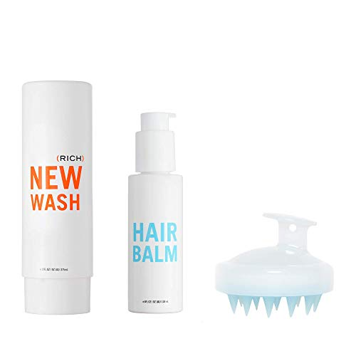 New Wash (RICH) KIT- Hair Cleanser 8oz + Hair Balm 4-oz + Scalp Brush for Cleansing & Conditioning ()