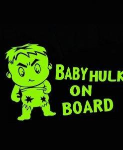 myrockshirt® Aufkleber Baby Hulk on Board 17 cm Autoaufkleber Auto Sticker Lack Heckscheibe Baby Bord aus Hochleistungsfolie ohne Hintergrund Profi-Qualität viele Farben zur Auswahl MADE IN GERMANY 0643412062695