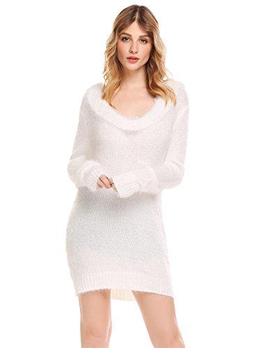 Damen Pullover Lang Winter Strickkleid Langarm Pulloverkleid Stretch  Winterkleider Oberteile Weiß KR6Pu ... a30c2fa8d0