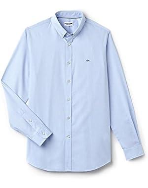 Lacoste Men's Salt And Pepper Men's Blue Shirt in Size 42-L Blue