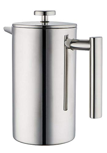 Miuly French Press, Double Wall 18/8 Stainless Steel Coffee & Tea Maker, 1.5L / 50 OZ-Bonus With Two Extra Filter Screens
