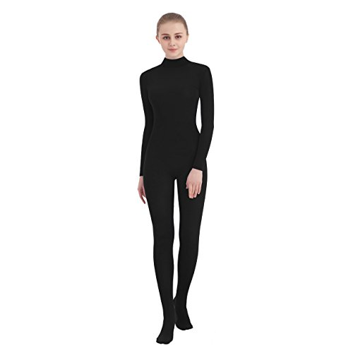 (SUPRNOWA Unisex Mock Turtleneck Footed Spandex Long Sleeve Unitard (XX-Large, Black))