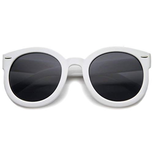 zeroUV - Round Retro Oversized Sunglasses for Women with Colored Mirror and Neutral Lens 53mm (White/Smoke)