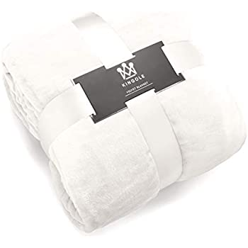 Kingole Flannel Fleece Microfiber Throw Blanket, Luxury Cream White Queen Size Lightweight Cozy Couch Bed Super Soft and Warm Plush Solid Color 350GSM (90 x 90 inches)