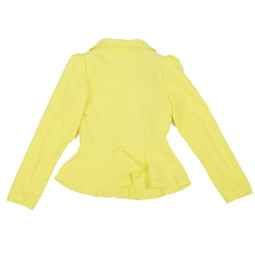 Colore Vogue Candy Giallo Abbigliamento s Moda r Singolo Maniche Blazer Donna Sodial Pieghevole Giacche Pulsante Lunghe nero Cappotto Di Del aSn7q